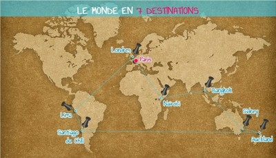 carte monde destinations